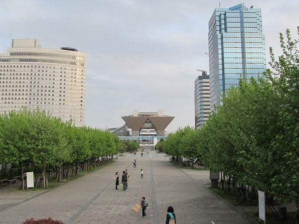 駅西側のコロシアムブリッジから見た東京ビッグサイト(会議棟)