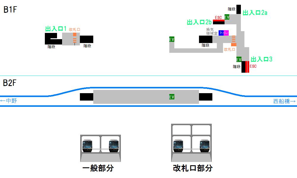南砂町駅の改良前の構内図