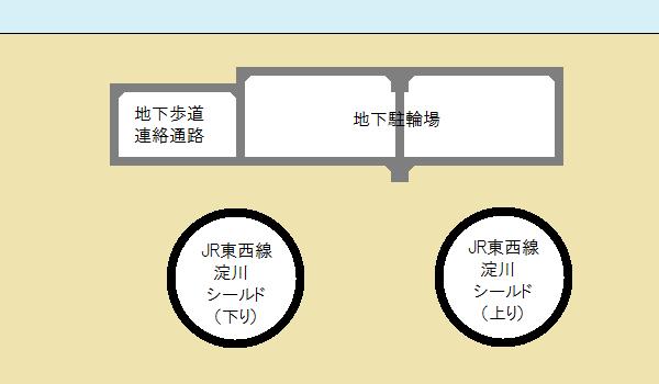 歌島橋地下駐輪場の断面