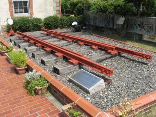 駅舎の前にある旧長浜駅ポイント