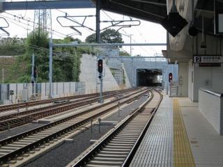 ホームから京成高砂方を見る。トンネルになっている。