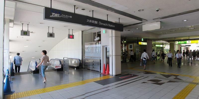 JR大井町駅中央口に直結したA1出入口(エスカレータ)