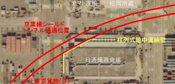 日通燻蒸倉庫とトンネルの位置関係