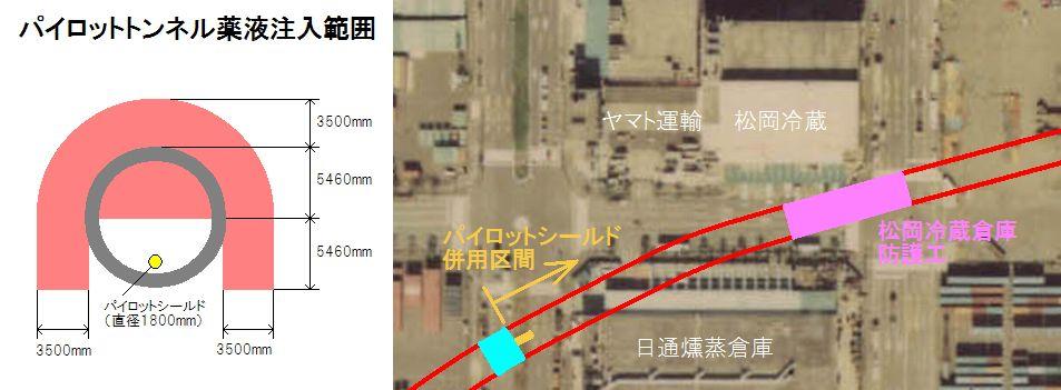 松岡冷蔵倉庫とトンネルの位置関係