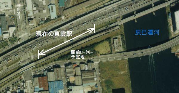 現在の東雲駅付近の1989年の航空写真