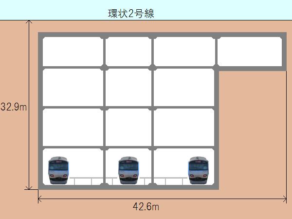 新横浜駅の断面図