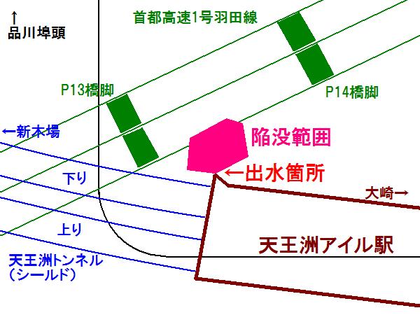 出水事故発生地点と地表陥没の範囲(工事誌146ページ図3-3-3-10より)