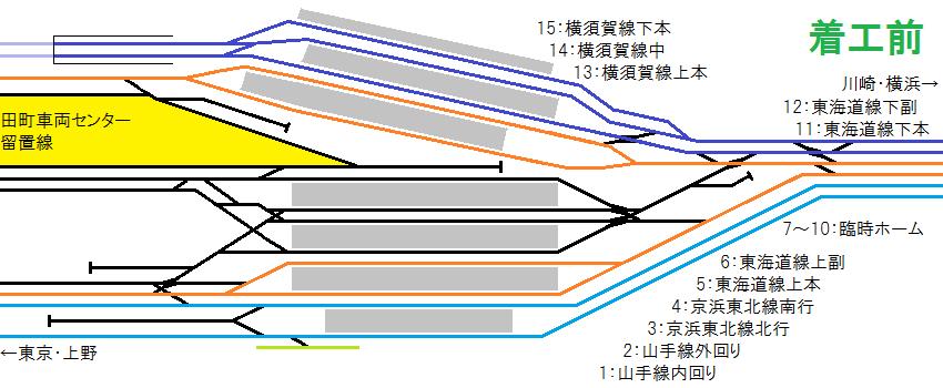 着工前の品川駅構内の配線図
