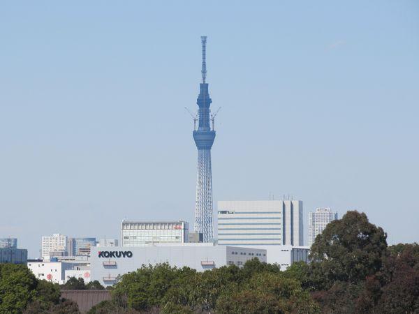 ゲイン塔の引き上げ真っ最中(高さ610m)。東日本大震災はこの写真を撮影した翌日に発生した。