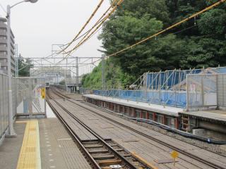 延長工事中の綱島駅ホーム渋谷方。