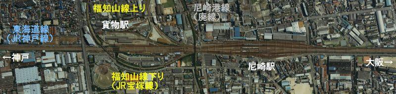 尼崎駅全体の航空写真