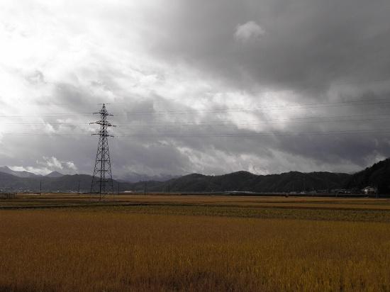 六方田んぼと今日の空