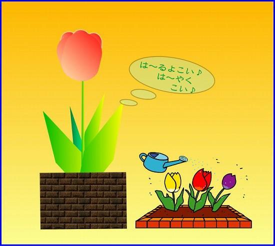 あまり寒いのでチューリップを描いて春を呼んでみました。
