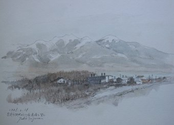 茅野市街地から八ヶ岳連峰を望む(1985・2)