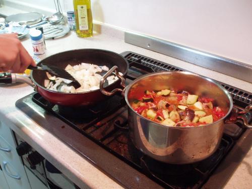 調理過程なう