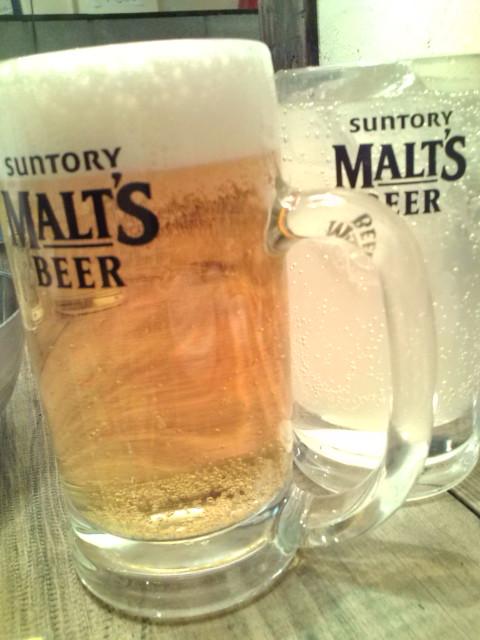 ビールとゆず蜂蜜サワーで乾杯