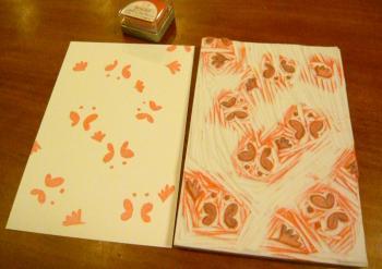 版画(蝶と花)1