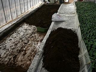 土をどかす