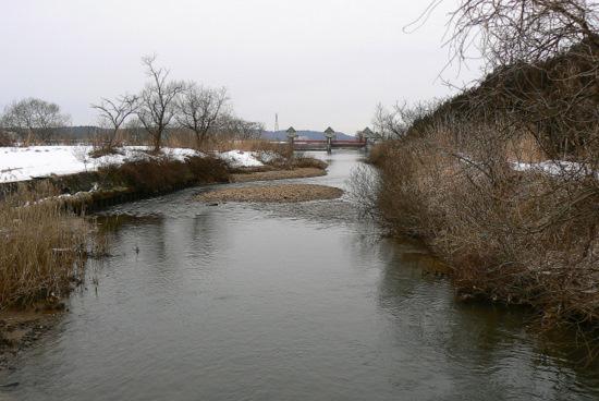 100228 梵字川から岩見川の堰堤を