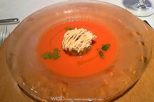 これはすごく美味しかった。 ニンジンの酸味あるスープにカニだったかな☆ すっごいさっぱりしてて好きな味