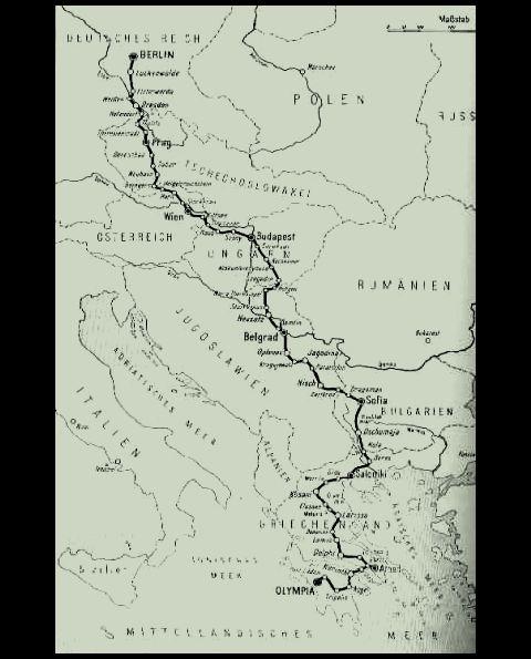 1936_ベルリン・オリンピック聖火リレー・コース