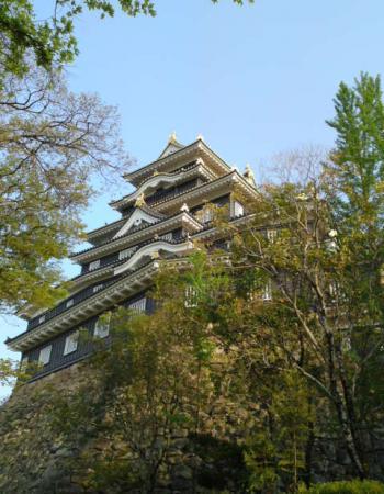 夕暮れの岡山城