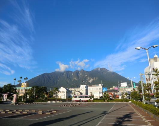 島原港から普賢岳を望む