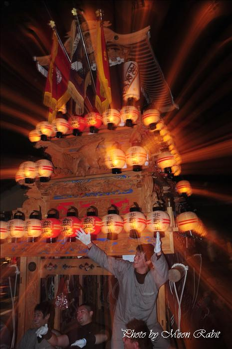 (西条祭り 2009 伊曽乃神社祭礼関係) お旅所 北之町下組(北ノ町下組)だんじり(屋台) 愛媛県西条市大南上 2009年10月16日