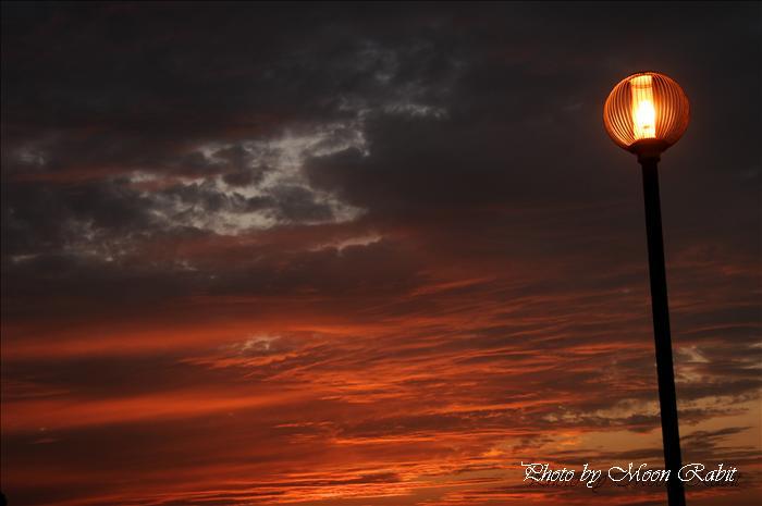 西条市の風景 西条市市民の森での夕焼け 愛媛県西条市福武 西条市考古歴史館前より 2009年10月22日