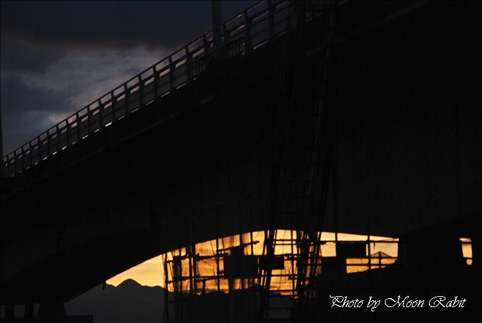西条市の風景 新中山川橋付近の夕景色 愛媛県西条市禎瑞 2010年8月29日