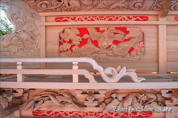 西条祭り2010 新調お披露目式典での北之町中組だんじり(北の町中組屋台・楽車)の胴板彫刻など 伊曽乃神社祭礼関係 愛媛県西条市北の町中 2010年10月10日