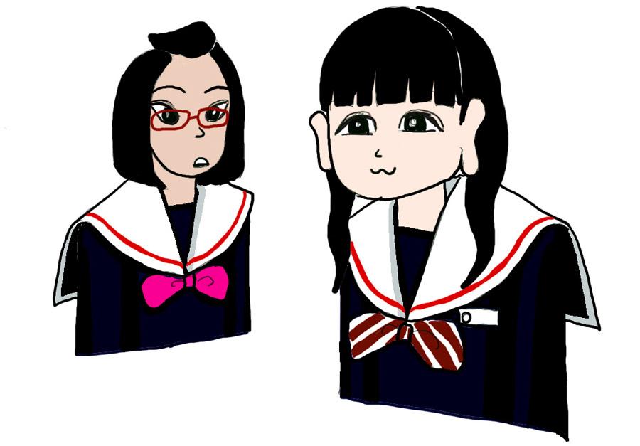 月代 里奈 中学生日記 名古屋襟セーラー服 襟カバー 女子中学生