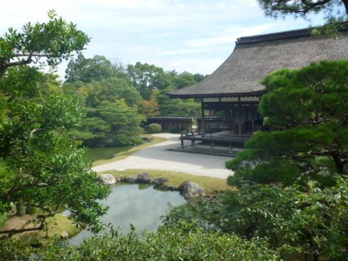 寺の庭の池