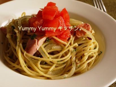 ちるちるちゃんのたっぷりパセリとトマトのペペロンチーノ♪