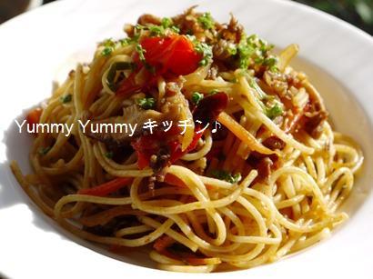 ハンバーグソースdeハヤシ炒めのスパゲティ♪