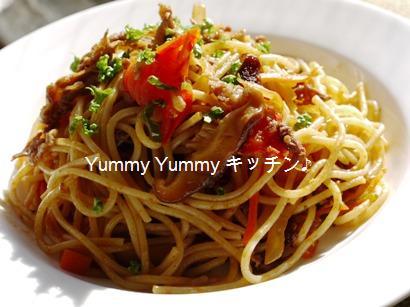 ハンバーグソースdeハヤシ炒めのスパゲティ☆