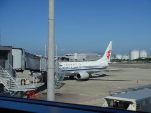中国国際航空に乗り込む