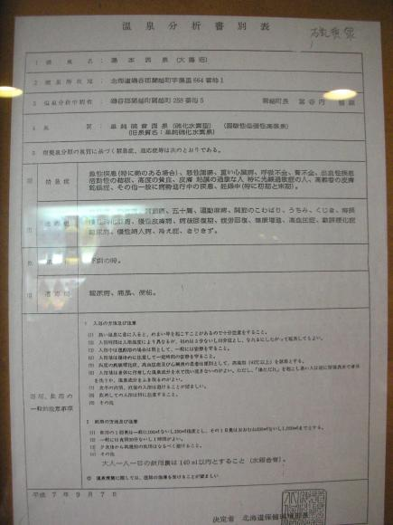 ニセコ紅葉音 温泉分析表1