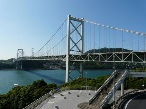 関門自動車道 めかりパーキングエリアからの風景 関門橋