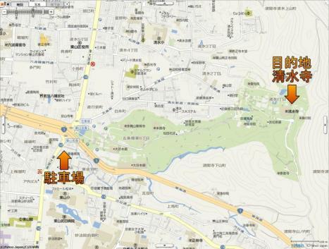 清水寺周辺地図 15分500円の駐車場