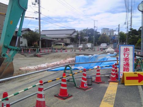 安芸津支所前 県道復旧状況