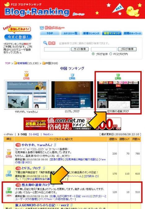 FC2ブログランキング中国地方 第3位
