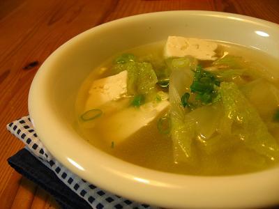 白菜と豆腐の中華スープ