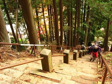 山頂に向かって・・・いきなり階段!2