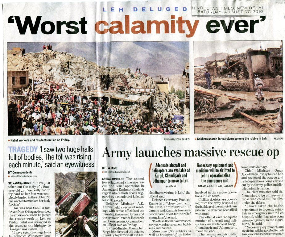 Leh の土石流災害(8月7日Hindustan Times )No.2