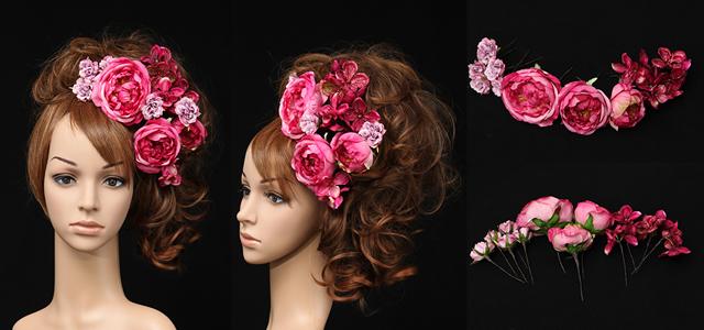 ウェディングバラ ピンク 髪飾り