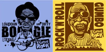 EverydayRock T Shirt Lightnin' Hopkins Professor Longhair Caricature