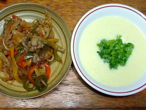 肉野菜炒めと蕪の丸ごとスープ