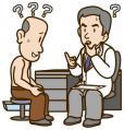 医師の説明と老人